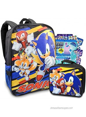 Sonic The Hedgehog Backpack With Lunch Box For Kids ~ 3 Pc Bundle Featuring Sonic Tails And Knuckles School Bag Lunch Bag And Stickers | Video Game School Supplies Set