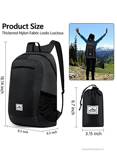 Hiking Backpack Ultra Lightweight Packable Camping Backpack Waterproof Travel Outdoor Hiking Daypack for Women Men BLACK 16L