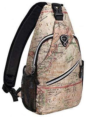 MOSISO Sling Backpack,Travel Hiking Daypack Pattern Rope Crossbody Shoulder Bag Camel Base World Map