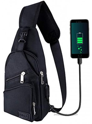 Sling Bag for Men Women Shoulder Backpack Chest Bags Crossbody Daypack with USB Cable for Hiking Camping Outdoor Trip