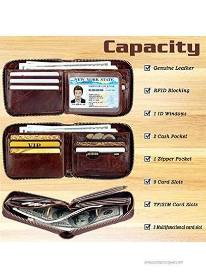 Admetus Men's Genuine Leather Short Zip-around Bifold Wallet