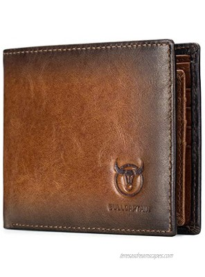 BULLCAPTAIN RFID Wallets for Men Slim Bifold Genuine Leather Front Pocket Wallet with 2 ID Windows QB-05 Brown