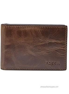 Fossil Men's Leather Slim Minimalist Money Clip Bifold Front Pocket Wallet