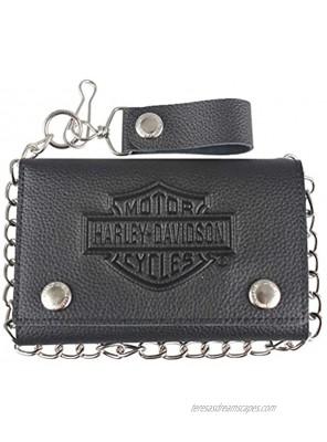 Harley-Davidson Men's B&S Embossed Trucker Tri-Fold Plus Wallet XML3514-BLACK