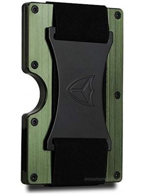 Minimalist Wallet for Men RFID Blocking Aluminum Wallet Carbon Fiber Card Case Metal Wallet Minimalist Front Pocket Card Holder Cash Strap Mens Wallet Army Green