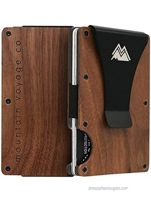 Mountain Voyage Premium Minimalist Mens Wallet – Secure Credit Card Holder And Removable Money Clip – Natural Block Minimalist RFID Wallets For Men Eco-Sustainable Wood Slim Wallet For Men – Premium Gift For Men's Wallet