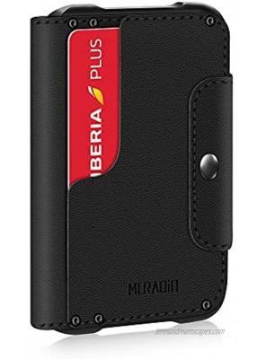 MURADIN Black Front Pocket Wallet for Men Travel Tactical bifold RFID Blocking Aluminum Metal Leather Money Cards Holder Ideal Men's Gift