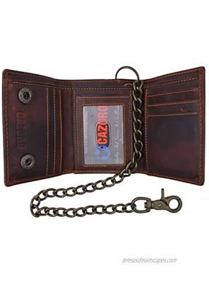 RFID Blocking Men's Tri-fold Vintage Leather Biker Chain Wallet With Snap Closure