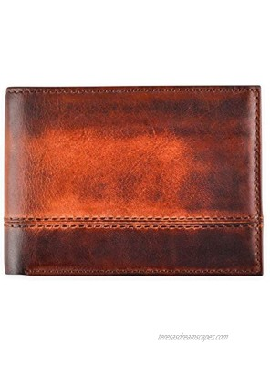RFID Men's Wallet Bifold Leather with Removable Flip Up 2 ID Windows Premium Wallet with Smart Design Durable Security Billfolds for Men