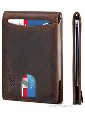 SERMAN BRANDS RFID Blocking Slim Bifold Genuine Leather Minimalist Front Pocket Wallets for Men with Money Clip Thin Mens