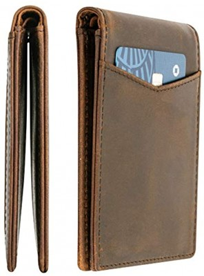 Top Grain Leather Minimalist Wallet for Men | Ultra Strong Stitching | Handcrafted Argentinian Leather | RFID Blocking | Comfortable Slim Fold Front Pocket Wallet | Extra Thin Card Holders | Perfect for Travel