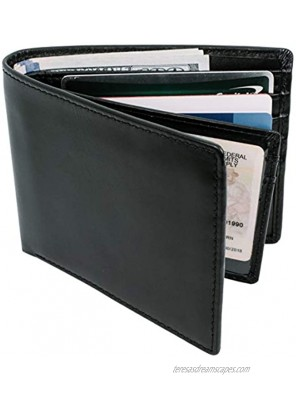 Top Grain Leather Wallet for Men | Ultra Strong Stitching | Handcrafted Argentinian Leather | RFID Blocking | Slim and Stylish Bifold Wallet with Center Flap ID Window | Extra Capacity Billfold with 14 Card Slots