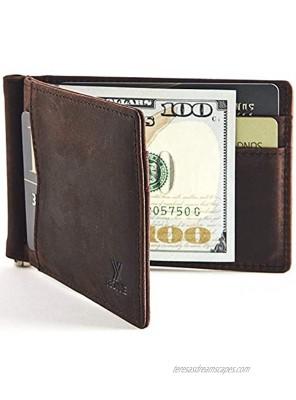 YBONNE Mens Slim Wallet with Money Clip Front Pocket RFID Blocking Thin Bifold Leather Card Holder Minimalist Mini Billfold