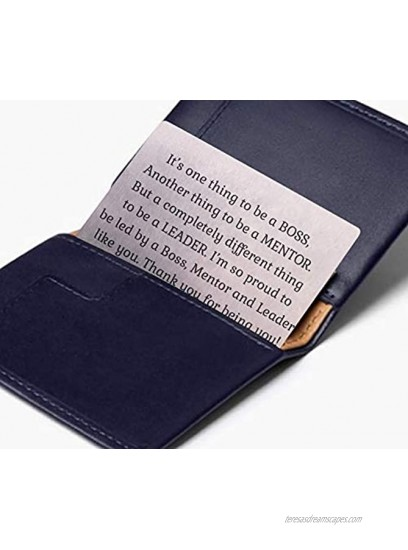 Boss Appreciation Gift Mentor Thank You Gifts For Guidance | Inspiration Coworker Leaving Gifts For Him | Engraved Metal Wallet Card for Supervisor |Thank you Note Going Away Gifts Retirement gift