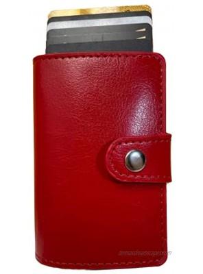 Credit Card Holder for Women or Men RFID Blocking Genuine Leather Vintage Aluminum Business Card Organizer Slim Card Case Minimalist Credit Card Wallets Red