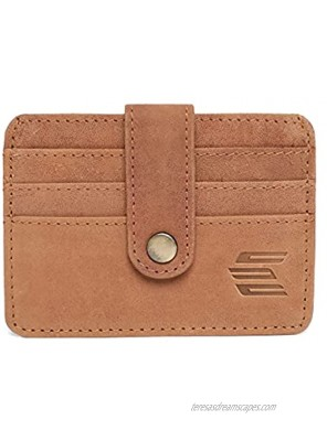 Elegante Pure Leather Slim Minimalist Leather Wallet Front Pocket Cards Holder   Ultra Strong Stitching   Handcrafted Leather   RFID Blocking With 3 Card Slots