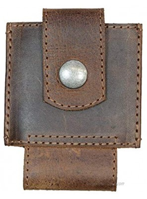 Hide & Drink Leather Sliding Card Holder Holds Up to 4 Cards Plus Folded Bills Front Pocket Wallet Accessories Handmade Includes 101 Year Warranty Bourbon Brown