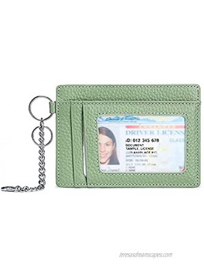 Leather Slim Wallet Minimalist RFID Credit Card Holder For Women Men Small Front Pocket Wallets With Keychain Grass green