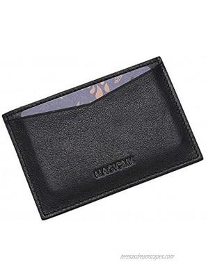 MAGICMK'S Men Credit Card Wallet Minimalist Card Organizer Genuine Leather Black