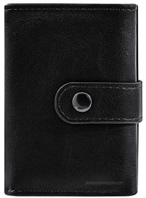 Minimalist Credit Card Holder,Aluminum RFID Blocking Wallet Slim Leather Smart Pop-Up Card Case for Men Gift black