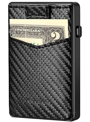 NEW-BRING Leather Pop Up Wallet for Men Minimalist Credit Card Holder Slim RFID Blocking Card Case carbon fiber PU leather