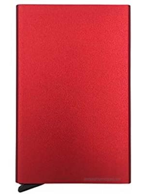 Pop Up Card Wallet RFID Blocking Metal Wallets with Money Pocket Bank Card Holder from Vizfa Slim Minimalist Credit Card Holder for Men or Women Red
