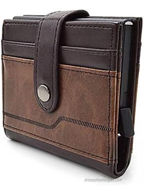 RFID Blocking Credit Card Holder-Genuine Leather Minimalist Wallet -Slim Pop-up Card Holder