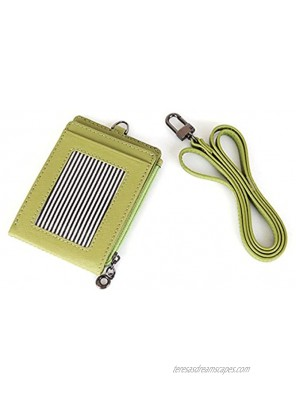 Slim Bills & Credit Card Holder Id Card Case Useful Purse with Neck Strap Wallet Lime Green