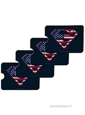 Superman USA American Flag Shield Logo Credit Card RFID Blocker Holder Protector Wallet Purse Sleeves Set of 4