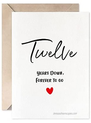12th Anniversary Card Twelve Years Down Forever To Go Romantic Valentines Day Wedding Card For Husband Wife