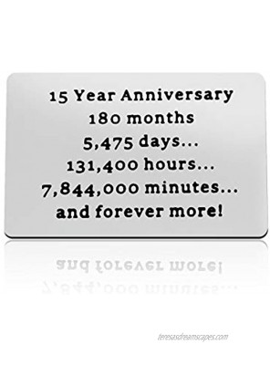 15th Anniversary Card Gifts for Husband Boyfriend Engraved Wallet Insert Card 15 Year Wedding Anniversary Present for Husband Fiance Christmas Birthday Valentines Day Gift 15th Anniversary Present for Him
