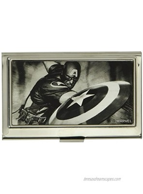 Buckle-Down Business Card Holder Captain America Throwing Shield Pose Brushed Silver Small