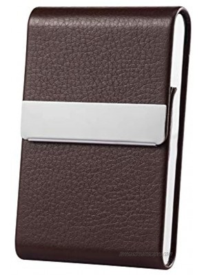 Business Card Holder Case Professional Luxury PU Leather & Stainless Steel Metal Name Card Holder Credit Card ID Wallet for Men & Women with Magnetic Shut Brown
