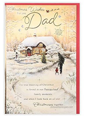 Clintons: Dad Snowy Cottage Scene Christmas Card