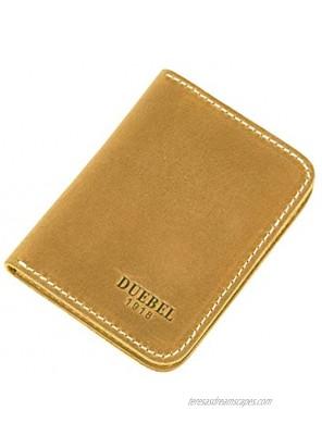 DUEBEL Full-grain Genuine Leather Slim Front Pocket Wallets Minimalist Thin Card Holder Card Case Wallet