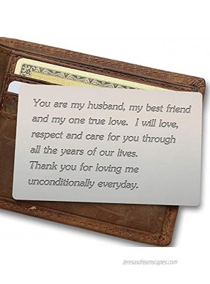 Engraved Wallet Inserts Permanent Etching Engraving Anniversary Card for Men Husband Card Boyfriend Card