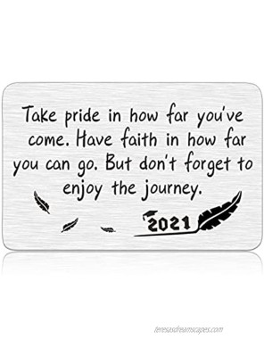 Inspirational Graduation Gifts Class of 2021 for Her Him Wallet Insert Card 2021 Seniors Masters Nurses Students Graduation Gifts for Women Men Kids Grandson Boys Girls Daughter Son