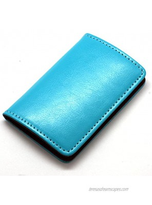 Partstock Premium Stainless Steel Smooth PU Leather Business Name Card Holder Credit Card Case ID Case with Magnetic Shut. Blue