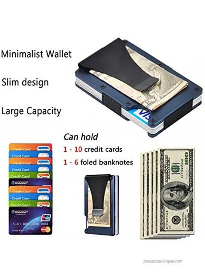RFID Slim Minimalist Metal Wallet with Money Clip Aluminum Credit Card Holder Wallet Organizer for Men Women
