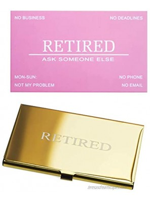 RXBC2011 Retired Business Cards Funny Retirement Gift 50 Pink Card With Gold Mirror Stainless Steel Case For Retired Men Women Coworkers Employees Boss Friend Colleague