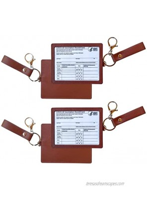 Vaccine Card Protector 2 Pack Premium Vegan Leather 4x3 inch Vaccine Card Holder with Hand Strap and Clip Deep Brown