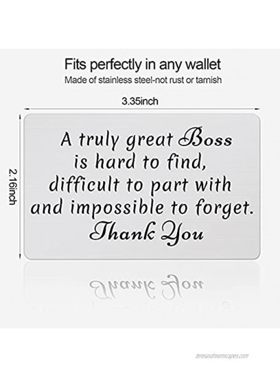 Wallet Insert Card Engraved Metal Anniversary Birthday Christmas Valentines Gifts for Him Her Office Present fro Boss Day