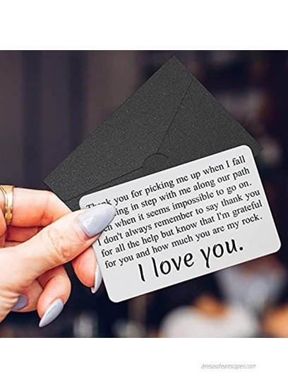 Wallet Insert Card Engraved Metal Anniversary Birthday Christmas Valentines Gifts for Men or Women Thank You Presents from Best Friend Girlfriend or Boyfriend