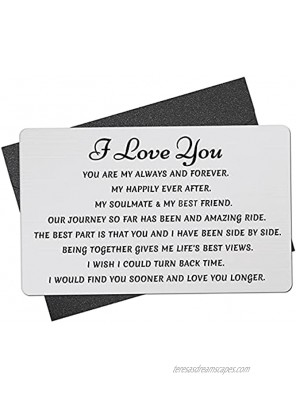 Wallet Insert Card Engraved Metal Anniversary Birthday Christmas Valentines Gifts for Men or Women Couples from Wife Husband Girlfriend or Boyfriend