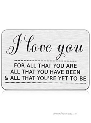 Wedding Anniversary Gifs for Him Her Husband Valentines Day Engraved Wallet Insert Card I Love You Gifts for Boyfriend Hubby Fiancé Groom Men from Wife Girlfriend Birthday Christmas New Year Gift