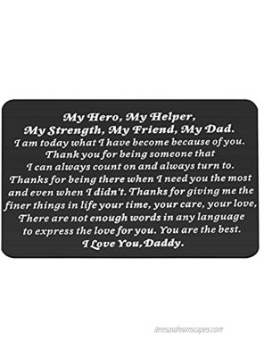 WSNANG Love Note Engraved Metal Wallet Insert Card for Dad Thank You Dad Gifts from Daughter Son