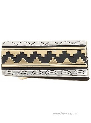 $150Tag Sun Teepee 12ktGF Silver Certified Navajo Native American Money Clip 24536-1 Made by Loma Siiva