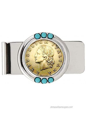 Coin Money Clip Italian 20 Lira | Brass Moneyclip Layered in Silver-Tone Rhodium with Genuine Turquoise Stones | Holds Currency Credit Cards Cash | Genuine Coin | Certificate of Authenticity