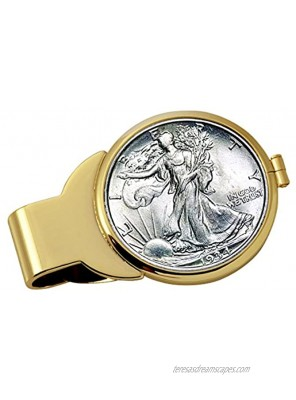Coin Money Clip Silver Walking Liberty Half Dollar   Brass Moneyclip Layered in Pure 24k Gold   Holds Currency Credit Cards Cash   Genuine U.S. Coin   Includes a Certificate of Authenticity