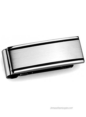 Drop of Silver High Polished Stainless Steel Money Clip with Black Stripe Detail